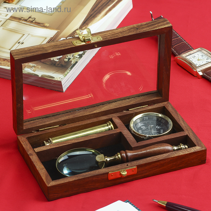 """Сувенирный набор в шкатулке """"Капитан"""" (лупа, компас, подзорная труба)"""