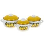 """Набор кастрюль """"Лимоны"""", 3 предмета: 2,1 л, 3,1 л, 4 л"""