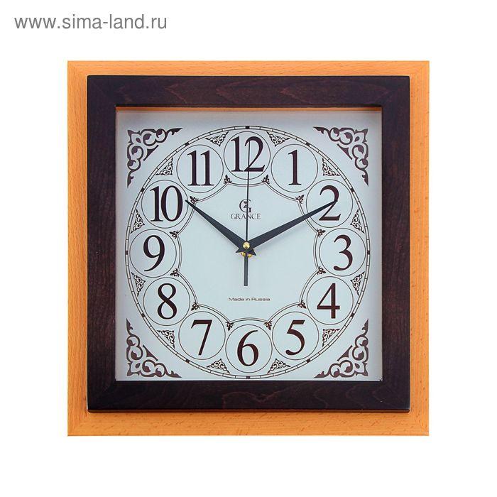 "Часы настенные H-02  ""БУК - ВЕНГЕ"" (дерево, металл, стекло) 330х330х40 мм"