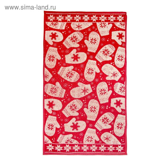 "Полотенце махровое ""Варежки"", размер 50х90 см, цвет бордо/кремовый"