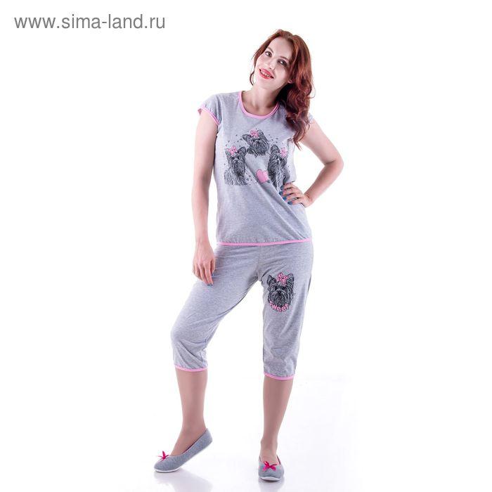 Пижама женская (майка, бриджи) п173 МИКС, р-р 56 кулирка