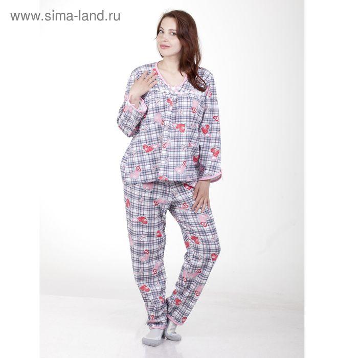 Пижама женская (фуфайка, брюки) п120 МИКС, р-р 56 футер