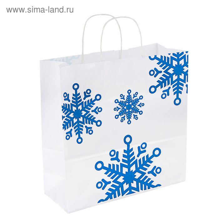 """Пакет крафт """"Снежинки синие"""", 32 х 32 х 12 см"""