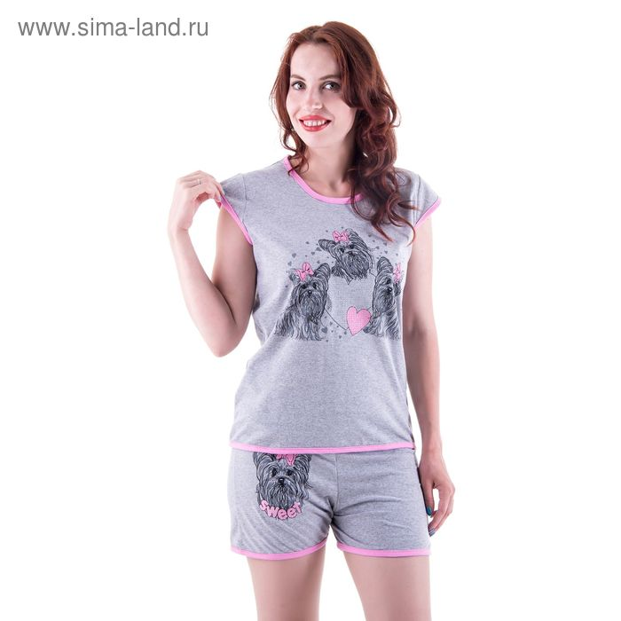 Пижама женская (майка, шорты) п73 МИКС, р-р 44 кулирка