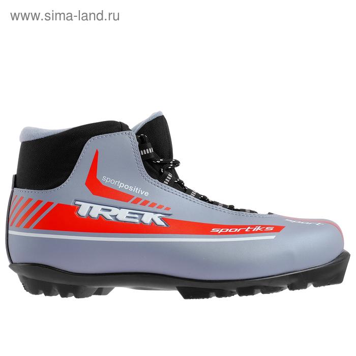 Ботинки лыжные TREK Sportiks NNN ИК (серый металлик, лого красный) (р.38)