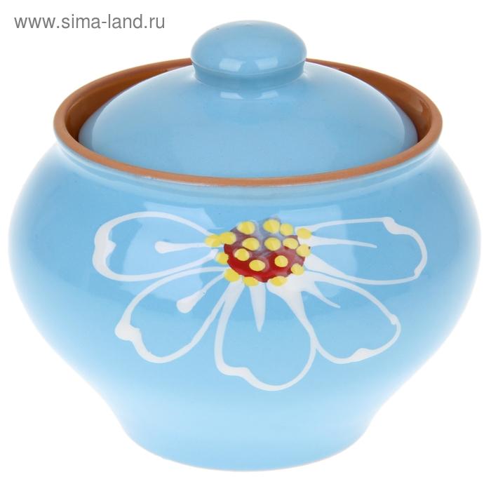 """Горшочек для запекания """"Псковский"""" голубой 0,5 л"""