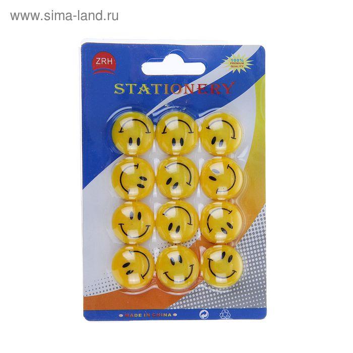 Магниты для доски Смайл d-2см (набор 12шт ) на блистере