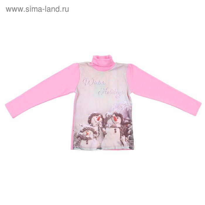 """Джемпер для девочки """"Снеговики"""", рост 122 см (32), цвет розовый"""