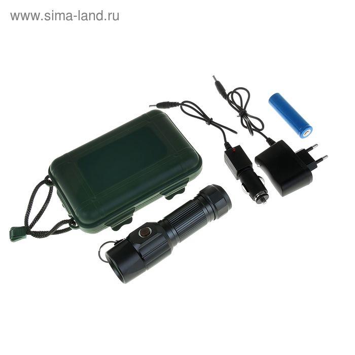 Фонарик светодиодный 3 режима зарядка от аккум-ра, прикур-ля, от сети 13,5х4х4 см