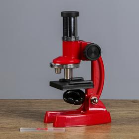 Микроскоп детский, увеличение х100, 200, 300, без лупы, красный