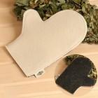 Рукавица для бани и сауны «Классическая», серо-белая