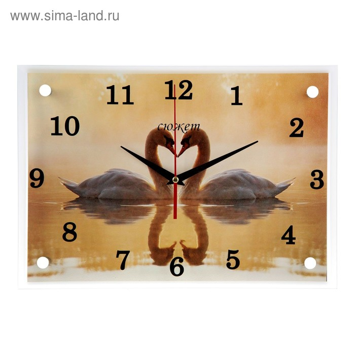"""Часы настенные прямоугольные """"Лебеди""""25х35см  микс"""