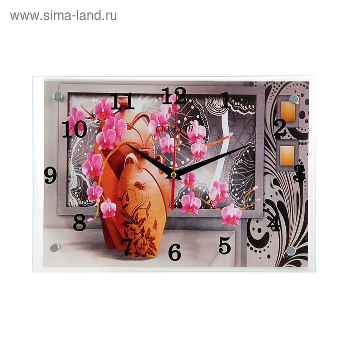 """Часы настенные прямоугольные """"Оранжевая ваза на сером фоне"""" 25х35см"""