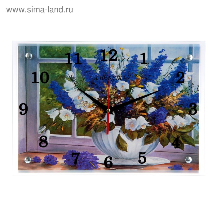 "Часы настенные прямоугольные ""Ваза у окна""25х35см  микс"