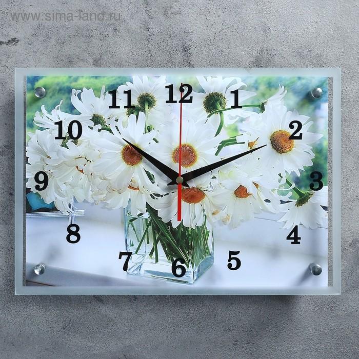 """Часы настенные прямоугольные """"Ромашки в прозрачной вазе""""25х35см микс"""
