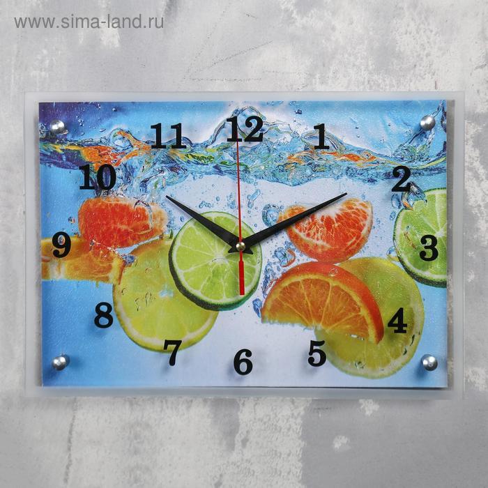 """Часы настенные прямоугольные """"Лайм и апельсин""""25х35см  микс"""