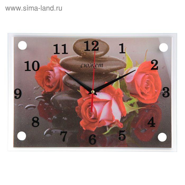 """Часы настенные прямоугольные """"Розы и камни"""" 25х35см"""