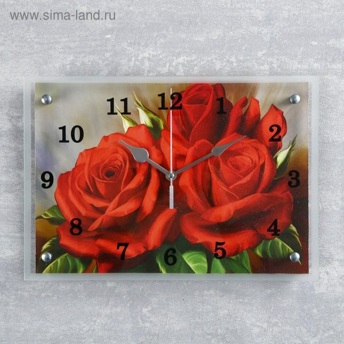 """Часы настенные прямоугольные """"Красные розы""""25х35см микс"""