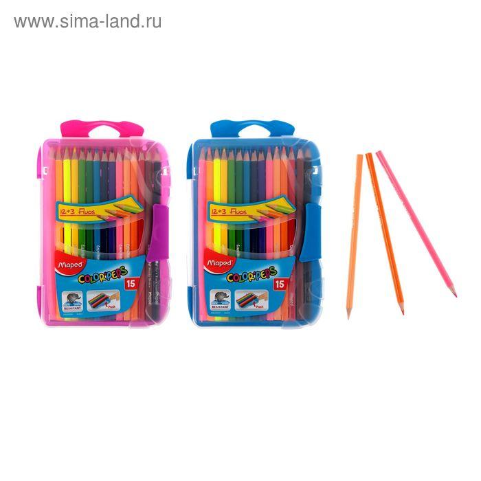 Карандаши трехгранные 18 цветов Color Peps, 15 цветов+3 флуоресцентных, в пластиковом пенале, МИКС