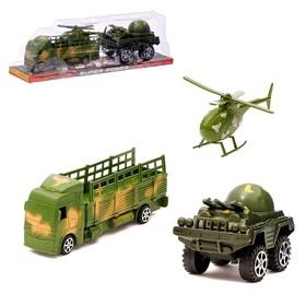 Грузовик инерционный 'Военный', с машиной и вертолетом Ош