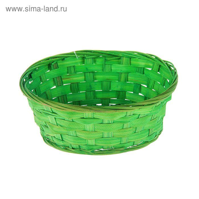 Хлебница плетёная, бамбук, зеленая