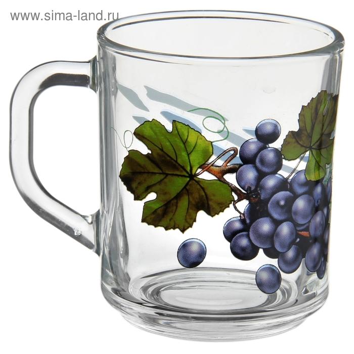 """Кружка стеклянная 200 мл """"Зеленый чай. Виноград"""""""