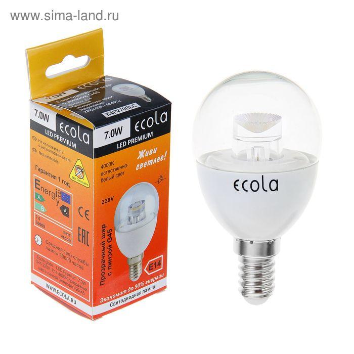 Лампа светодиодная Ecola, Е14, 7 Вт, 4000 K, прозрачный шар с линзой