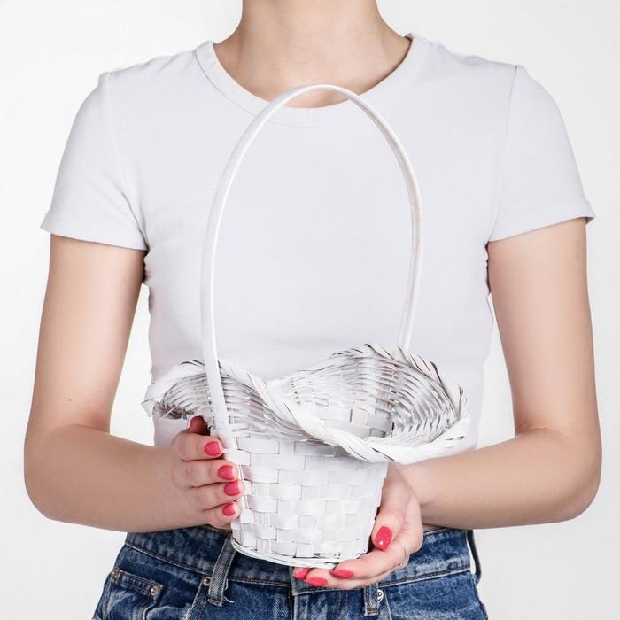 Корзина плетёная, бамбук, белая
