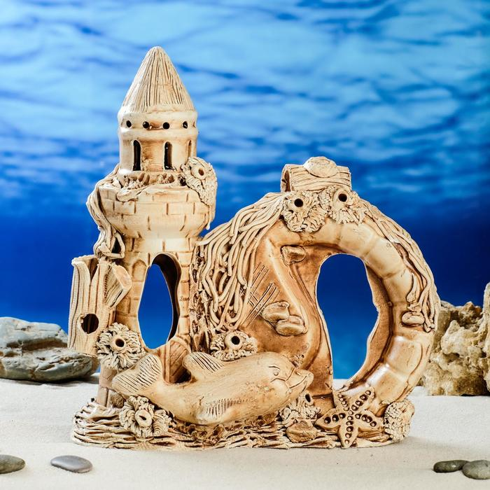 "Декорации для аквариума ""Замок, амфора и арка"" средний"