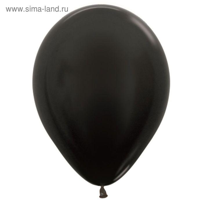 """Шар латексный 12"""", металл, набор 100 шт., цвет чёрный"""