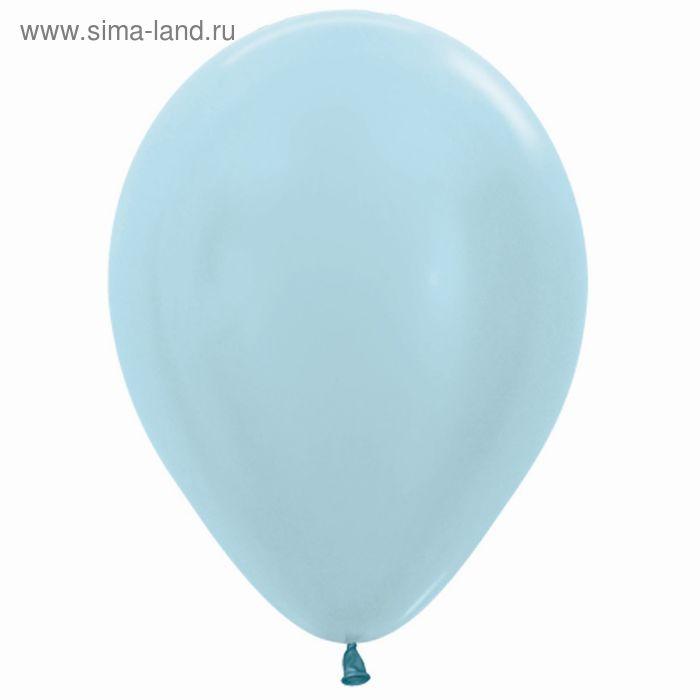 """Шар латексный 12"""", перламутр, набор 100 шт., цвет голубой"""