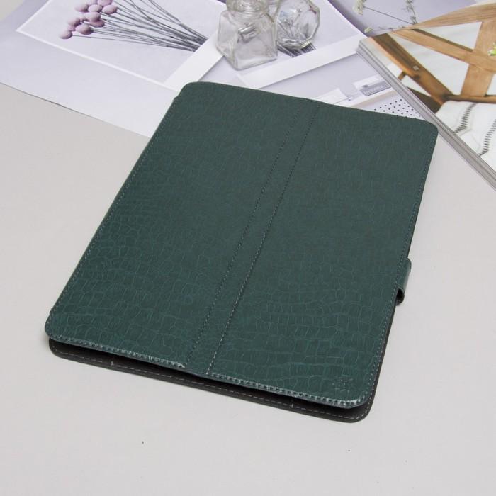 """Чехол-книжка для планшета, универсальный, 10.1"""", с уголками, рептилия, цвет зелёный"""