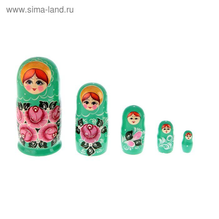 """Матрешка """"Цветы"""" бирюзовая 5 кукол, художественная роспись"""