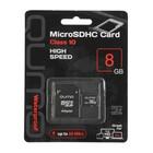 Флеш карта MicroSDHC Qumo, 8 GB, Сlass 10, с адаптером SD