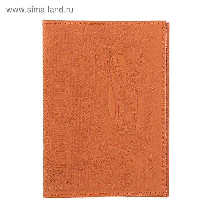Обложка для автодокументов, отдел для купюр, коричневая