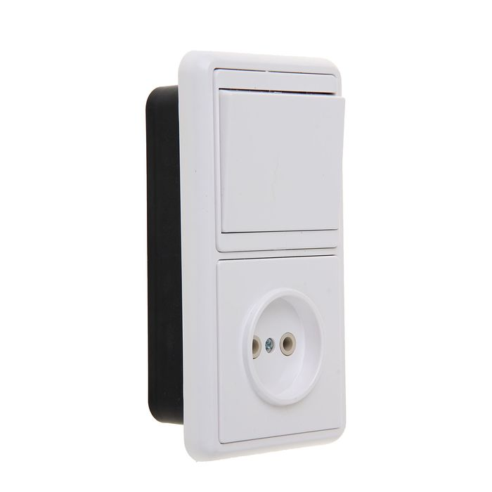 """Блок """"Кунцево"""" 5815 Бэлла БКВР-037, 1 клавиша, с розеткой, белый"""
