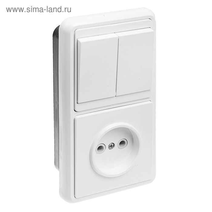 "Блок ""Кунцево"" 5827 Бэлла БКВР-038, 2 клавиши, с розеткой, белый"