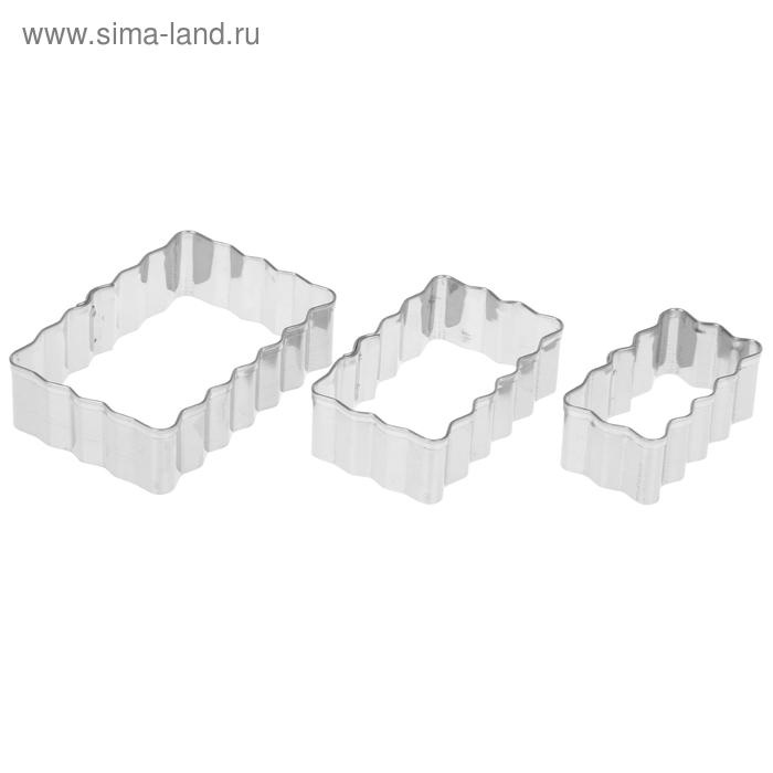 """Набор форм для вырезания печенья """"Полосы рифленые"""", 3 шт: 8х7 см; 7х6 см; 6х5 см"""