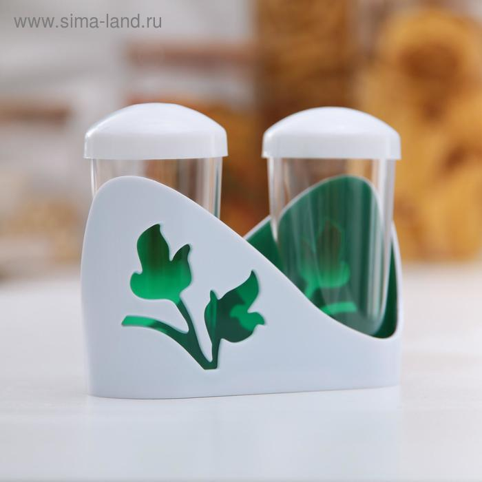 Набор для специй Viola, 3 предмета: солонка, перечница, подставка, цвет зеленый