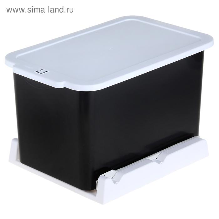 Ведро для мусора 15 л, выдвижное, цвет черно-белый