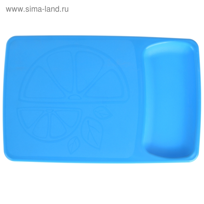 Доска разделочная 37х24 см с лотком Kleo, цвет голубой
