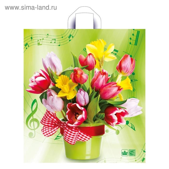 """Пакет """"Весенний мотив"""" полиэтиленовый, с петлевой ручкой, 40х44 см, 43 мкм"""