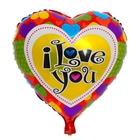 """Шар фольгированный """" Я Тебя Люблю"""" Сердце 18"""" с сердцами"""
