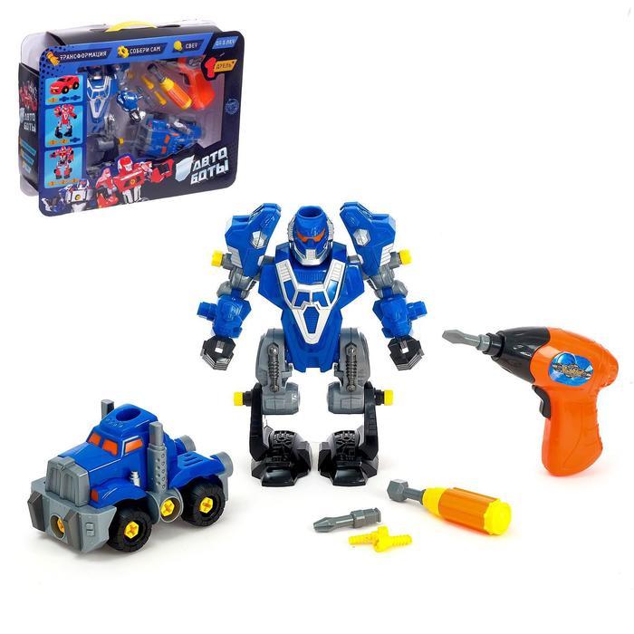 """Конструктор-машина """"Мега робот"""", 3 в 1, со световым шуруповёртом, работает от батареек"""