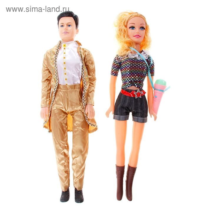 """Кукла пара """"Музыкальный дуэт"""", звуковые эффекты, работает от батареек, МИКС, высота: 60 см"""