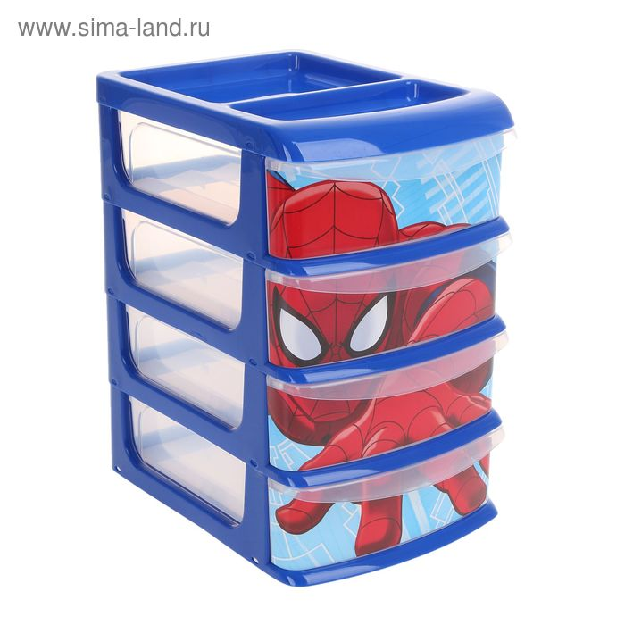 """Универсальный бокс малый """"Человек-паук"""", 4 секции, МИКС"""