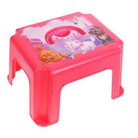 Детский табурет-подставка с ручкой «Кошечка Мари», цвет коралловый
