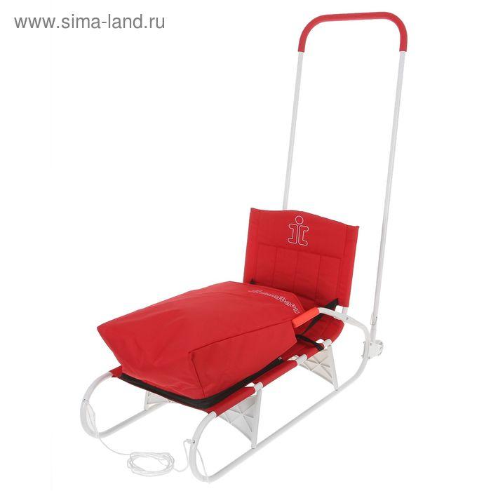 Санки складные с толкателем, колёсиками и съёмным чехлом для ног, цвет красный