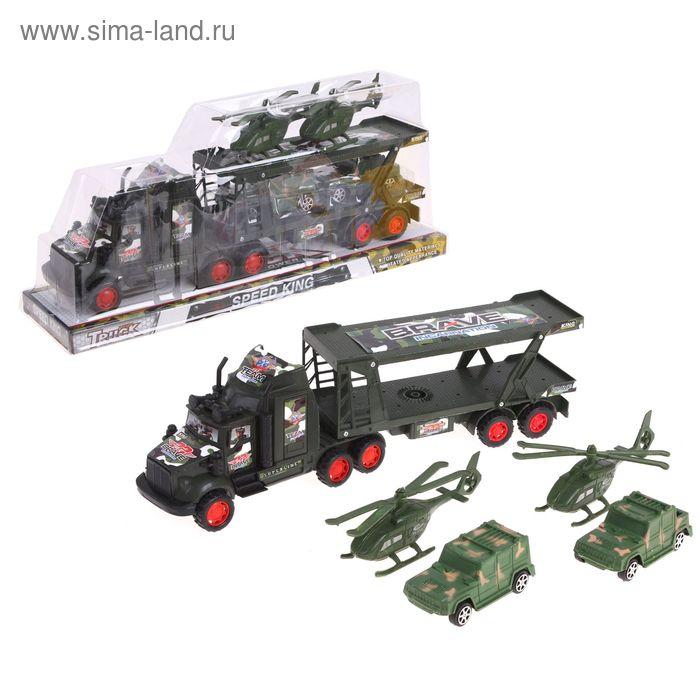 """Грузовик инерционный """"Военный автовоз"""", с 2 машинами и 2 вертолетами."""
