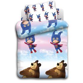 Детское постельное бельё Маша и Медведь Маша супергерой 112*147 110*150 40*60 1 шт. бязь, 120 г/м